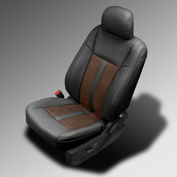 katzkin design 2015 f150 black outlaw brown leather interior. Black Bedroom Furniture Sets. Home Design Ideas