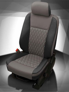 F250 Katzkin Leather - Black wrap, Stone center, Stone wings, Stone contrast all stitch, TekStitch Diamond insert, Tek Color Stone